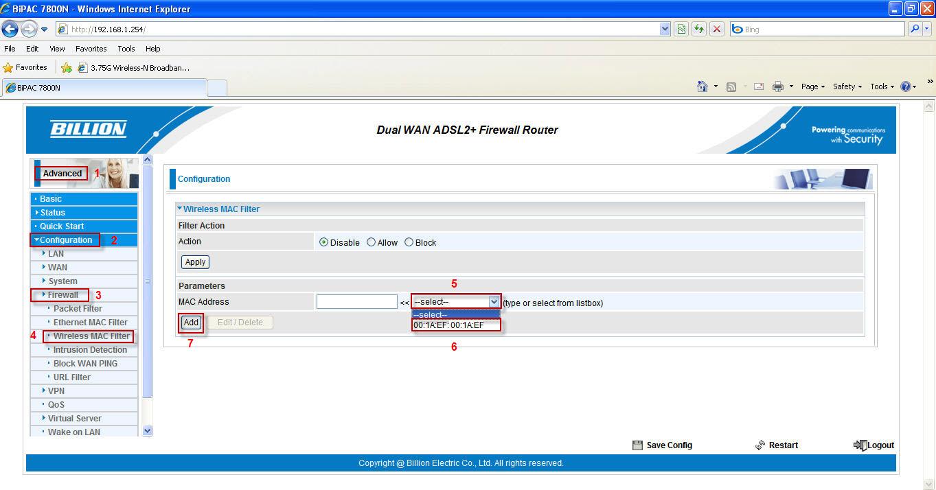 7800N Wireless Mac Filtering - Powered by Kayako Help Desk Software